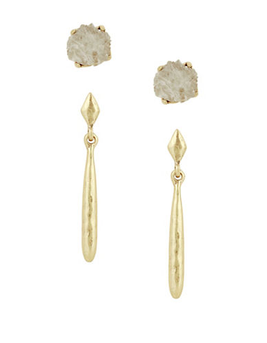Lucky Brand Two-Pack Rock Crystal Stud and Drop Earrings-GOLD-One Size