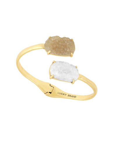 Lucky Brand Rock Crystal Cuff Bracelet-GOLD-One Size