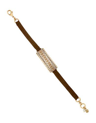 Lucky Brand Rock Crystal Openwork Link Suede Bracelet-MULTI-One Size