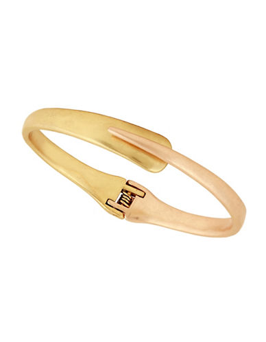 Lucky Brand Gold Overlap Hinge Bracelet-TWO TONE-One Size