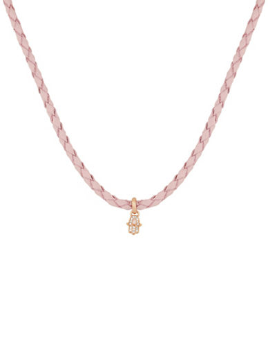 Lucky Brand Hamsa Rock Crystal and Leather Choker Necklace-ROSE GOLD-One Size