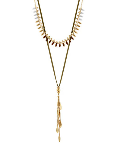 Lucky Brand Rock Crystal and Leather Combo Necklace-YELLOW-One Size