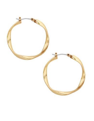 Lucky Brand Small Twist Gold Hoop Earrings-GOLD-One Size