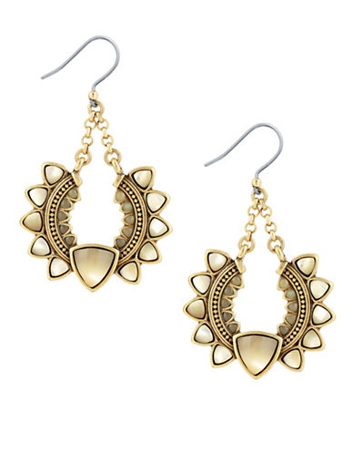 Lucky Brand Beaded Drop Earrings-GOLD-One Size