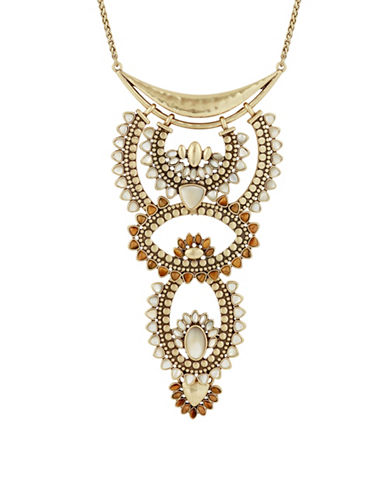 Lucky Brand Rock Crystal Necklace-GOLD-One Size