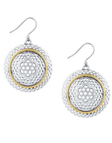 Lucky Brand Silvertone Earrings-TWO TONE-One Size