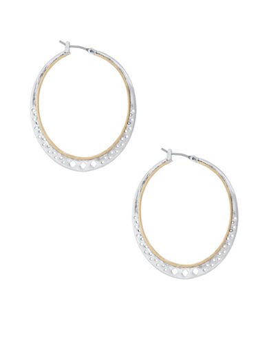 Lucky Brand Silvertone Hoop Earrings-TWO TONE-One Size