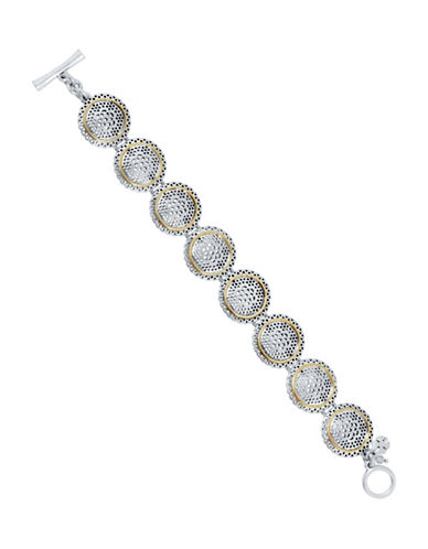 Lucky Brand Openwork Link Rock Crystal Bracelet-TWO TONE-One Size