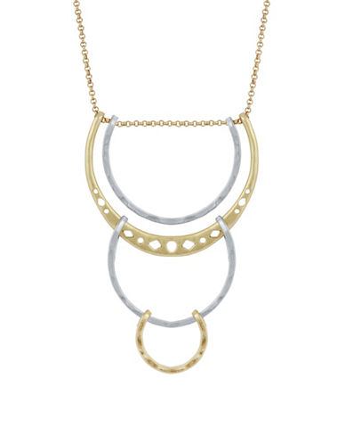 Lucky Brand Rock Crystal Tri Loop Pendant Necklace-TWO TONE-One Size