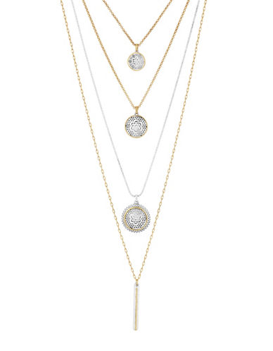 Lucky Brand Rock Crystal Layer Necklace-TWO TONE-One Size