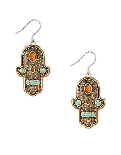 Lucky Brand Hamsa Drop Earrings-GOLD-One Size