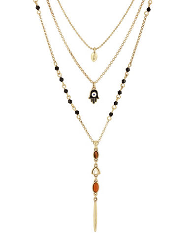 Lucky Brand Rock Crystal Layer Necklace-GOLD-One Size
