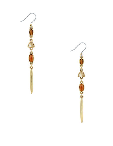 Lucky Brand Beaded Linear Earrings-GOLD-One Size