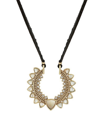 Lucky Brand Leather and Rock Crystal Necklace-GOLD-One Size