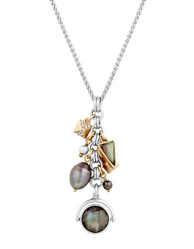 Lucky Brand Boxed Exclusive Mother-of-Pearl and Crystal Love Charm Necklace-ASSORTED-One Size