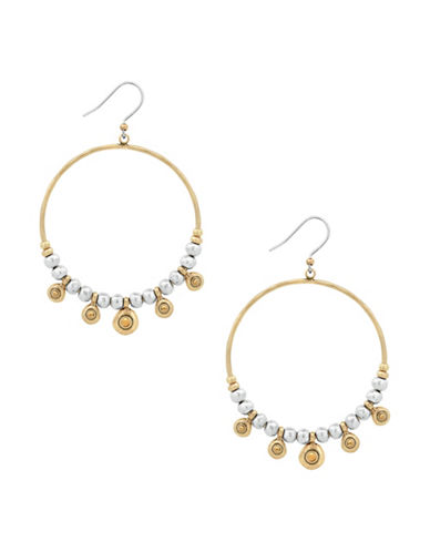 Lucky Brand Two-Tone Crystal Pave Hoop Earrings-ASSORTED-One Size