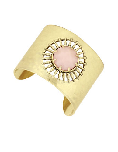 Lucky Brand Killing Me Softly Sunburst Jade Statement Cuff Bracelet-GOLD-One Size