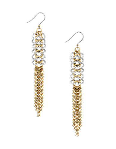 Lucky Brand Two-Tone Chain Fringe Earrings-ASSORTED-One Size
