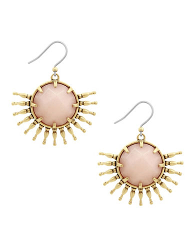 Lucky Brand Killing Me Softly Sunburst Jade Drop Earrings-GOLD-One Size