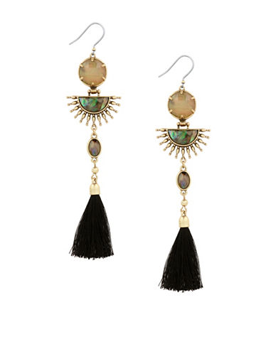 Lucky Brand Starburst Fringe Earrings-GOLD-One Size