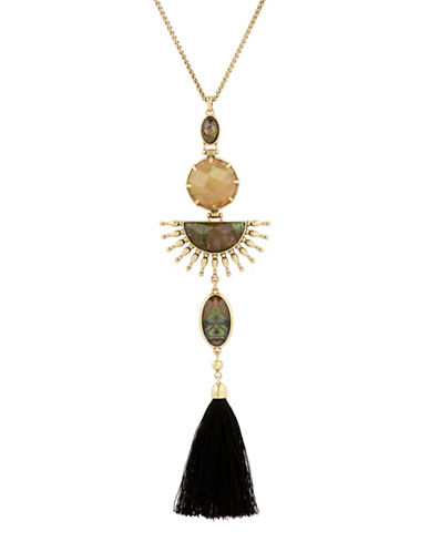 Lucky Brand Sunburst Fringe Crystal Pendant Necklace-GOLD-One Size