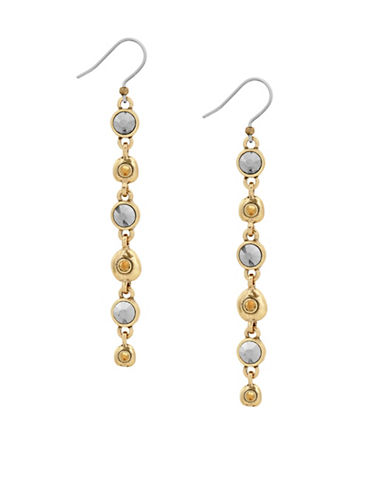 Lucky Brand Killing Me Softly Crystal Pavé Long Linear Earrings-GOLD-One Size