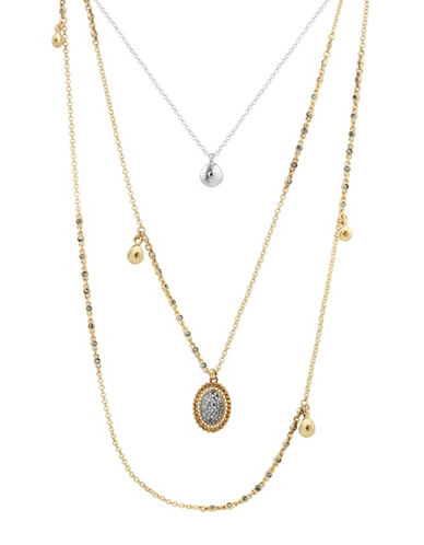 Lucky Brand Pave Lucky Crystal Layer Necklace-ASSORTED-One Size