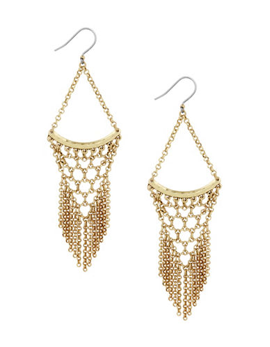 Lucky Brand Killing Me Softly Statement Chain Earrings-GOLD-One Size