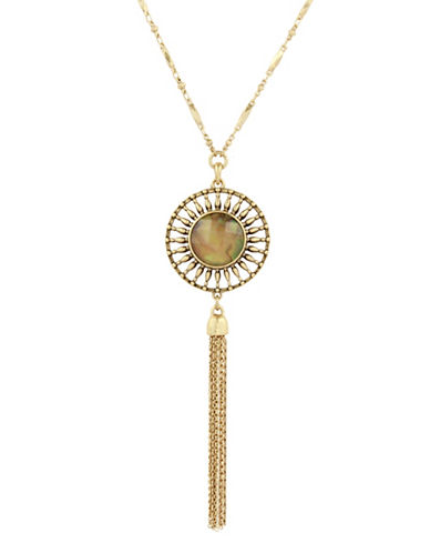 Lucky Brand Abalone Reversible Crystal Necklace-GOLD-One Size