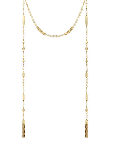 Lucky Brand Mother-of-Pearl Beaded Choker Necklace-GOLD-One Size