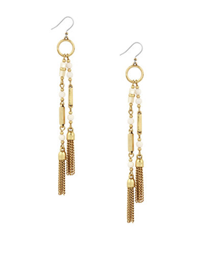 Lucky Brand Under The Influence Tassel Earrings-GOLD-One Size