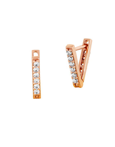 Lucky Brand Under The Influence Crystal Triangle Earrings-ROSE GOLD-One Size
