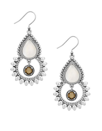 Lucky Brand Under The Influence Crystal Open Drop Earrings-SILVER-One Size