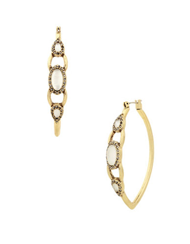 Lucky Brand Under The Influence Crystal Hoop Earrings-GOLD-One Size