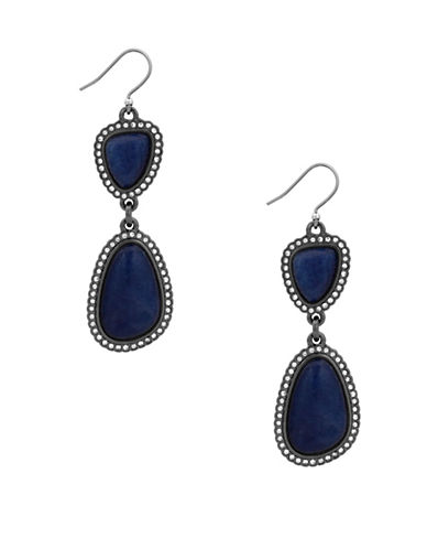 Lucky Brand Under The Influence Deep Blue Jade and Crystal Pavé Double Drop Earrings-SILVER-One Size