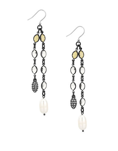 Lucky Brand Under The Influence Freshwater Pearl and Crystal Drop Earrings-SILVER-One Size