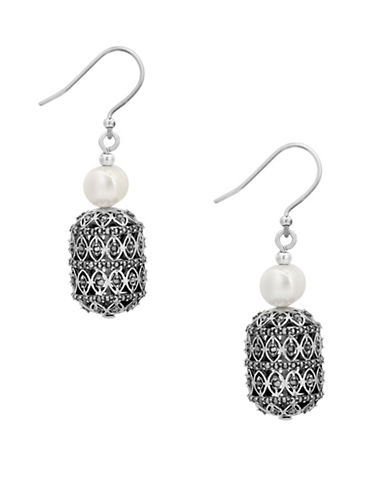 Lucky Brand Under The Influence Freshwater Pearl and Crystal Pavé Tassel Drop Earrings-SILVER-One Size