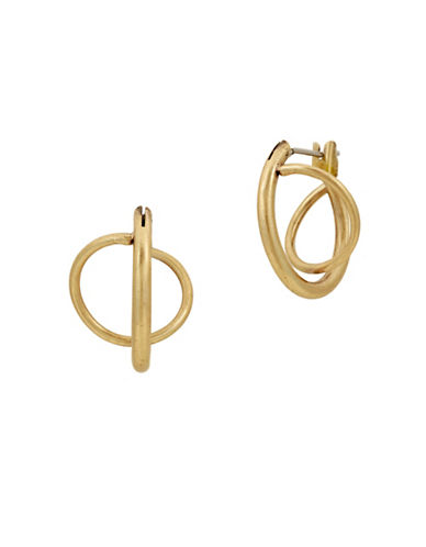 Lucky Brand Under The Influence Twisted Mini Hoop Earrings-GOLD-One Size