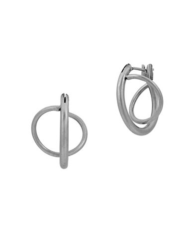 Lucky Brand Under The Influence Twisted Mini Hoop Earrings-SILVER-One Size