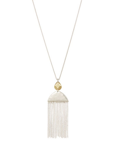 Lucky Brand Crystal Fringe Pendant Necklace-GOLD-One Size