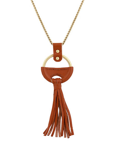 Lucky Brand Under The Influence Leather Pendant Necklace-GOLD-One Size