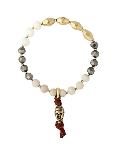 Lucky Brand Under The Influence Crystal and Leather Buddha Bracelet-GOLD-One Size