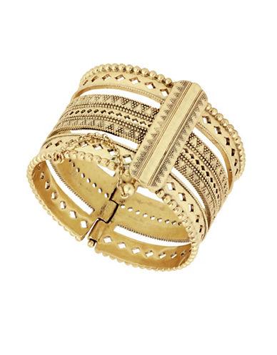 Lucky Brand Under The Influence Openwork Cuff Bracelet-GOLD-One Size