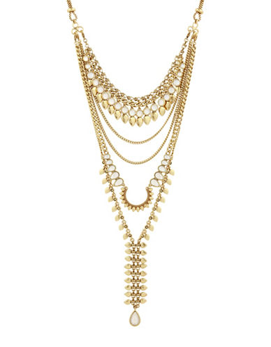 Lucky Brand Under The Influence Crystal Multi-Row Statement Necklace-GOLD-One Size