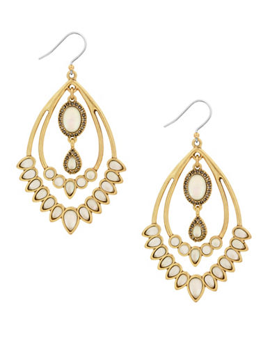 Lucky Brand Under The Influence Crystal Statement Earrings-GOLD-One Size