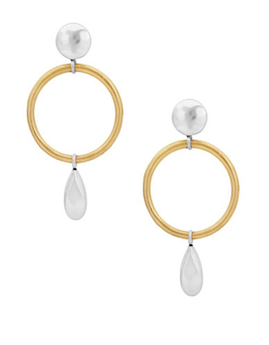 Lucky Brand Under The Influence Open Drop Earrings-GOLD-One Size