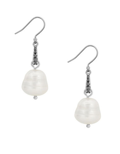 Lucky Brand Under The Influence White Pearl and Crystal Drop Earrings-SILVER-One Size