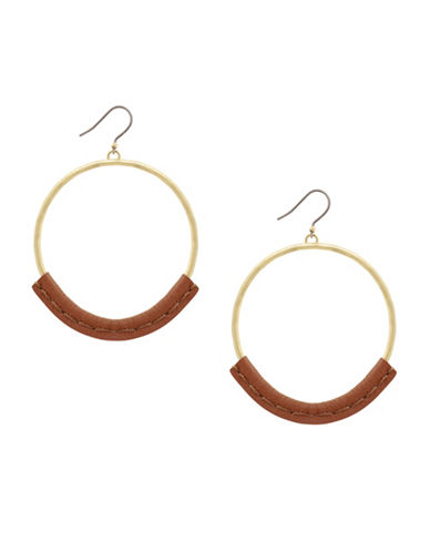 Lucky Brand Under The Influence Leather Hoop Earrings-GOLD-One Size