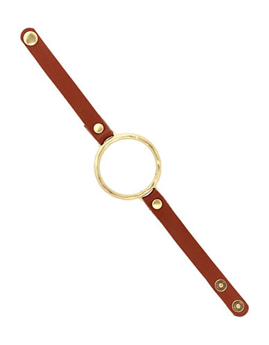 Lucky Brand Under The Influence Leather Circle Bracelet-GOLD-One Size