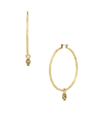 Lucky Brand Under The Influence Buddha Hoop Earrings-GOLD-One Size